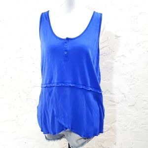 Anthropologie  blue little Yellow Button tank top small